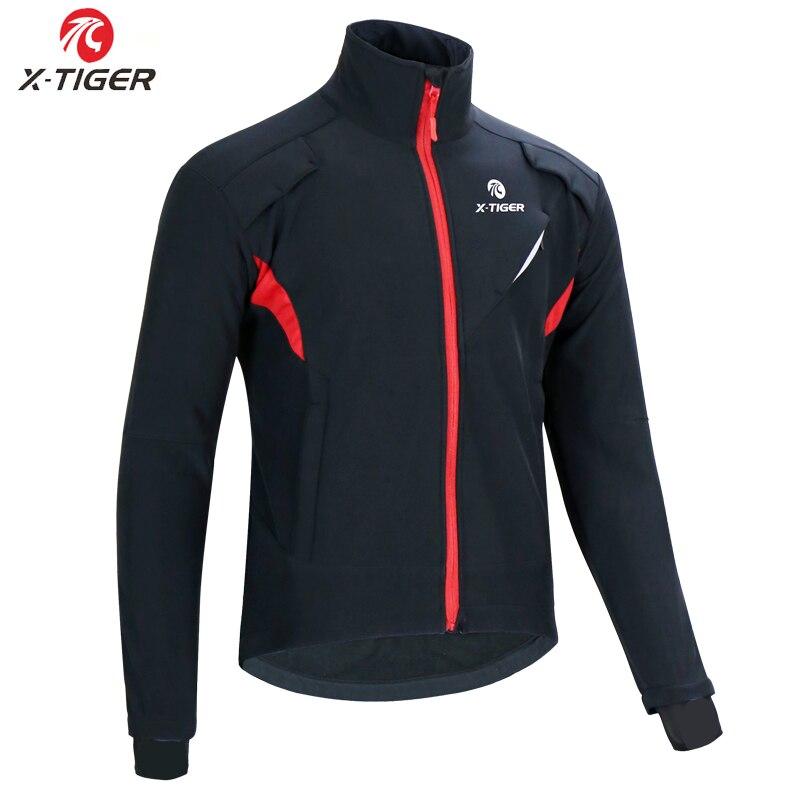 X-TIGER Winter Fleece Thermal Cycling Jacket Coat Autumn Warm Up Bicycle Clothing Windproof Windbreaker MTB Bike Jerseys Clothes(China)