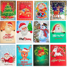 HUACAN DIY Christmas Diamond Painting Cards Mosaic Birthday Postcard Embroidery Handmade Gift Craft Kit