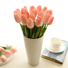 1 PC Tulip Artificial  Flowers Tulip Flowers For Home Wedding Decoration Real Touch Home Party  Decor Gifts For Friends 20 coral tulip