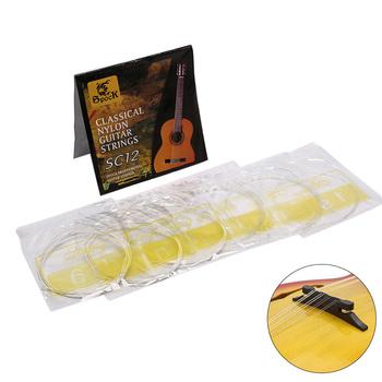 Srebrny struna gitarowa s 6 sztuk SC12 gitara klasyczna struna gitarowa zestaw czarny Nylon rdzeń posrebrzana miedź rany wysokiej jakości tanie i dobre opinie DE (pochodzenie) Other