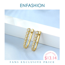 ENFASHION Kristall Einfache Hoop Ohrringe Für Frauen Gold Farbe Kleine U Form Zirkon Hoops Ohrringe Modeschmuck Ohrringe E191100