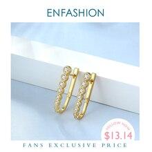ENFASHION kristal basit Hoop küpe kadınlar için altın renk küçük U şekli zirkon çemberler küpe moda takı Oorbellen E191100