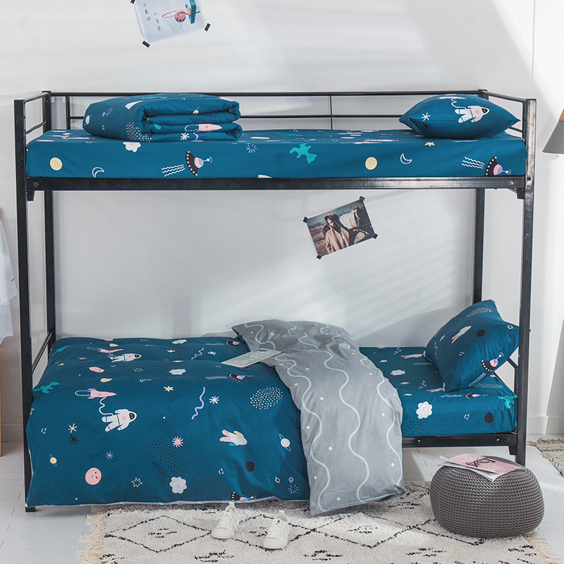 3Pcs 100% Cotton Cartoon Animal Crib Bed Linen Kit Baby Bedding Set Includes Pillowcase Bed Sheet Duvet Cover Without Filler