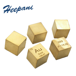 Free shipping Gold metal cube 999 pure 10mm density ingot Au periodic element table