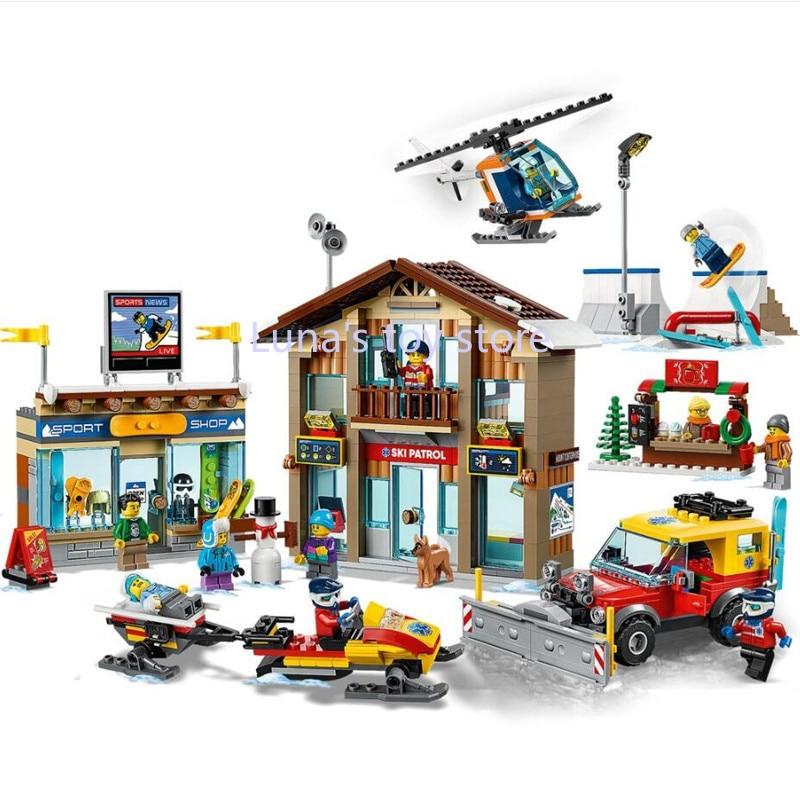 2020 Новый конструктор серии «горнолыжный курорт», Детский конструктор, игрушки, рождественские подарки, совместимы с 60203 60233