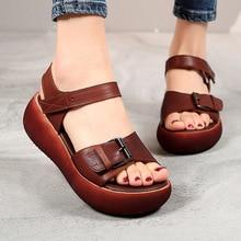 ZIMNAFR 2020 letnie sandały damskie kobiece platformy mody sandały z prawdziwej skóry kobieta letnie buty skóra bydlęca rozmiar 35-40 otwarte