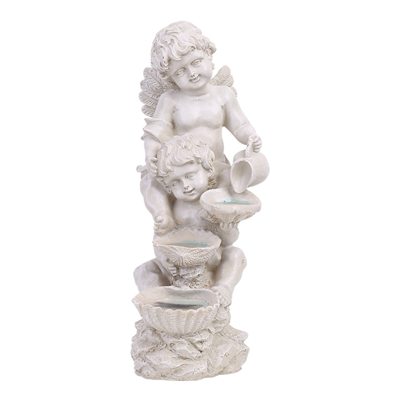 European Angel Modelling With Lamp Statue Resin Crafts Figure Arts Sculpture Outdoor Garden Courtyard Lawn Decoration R2977