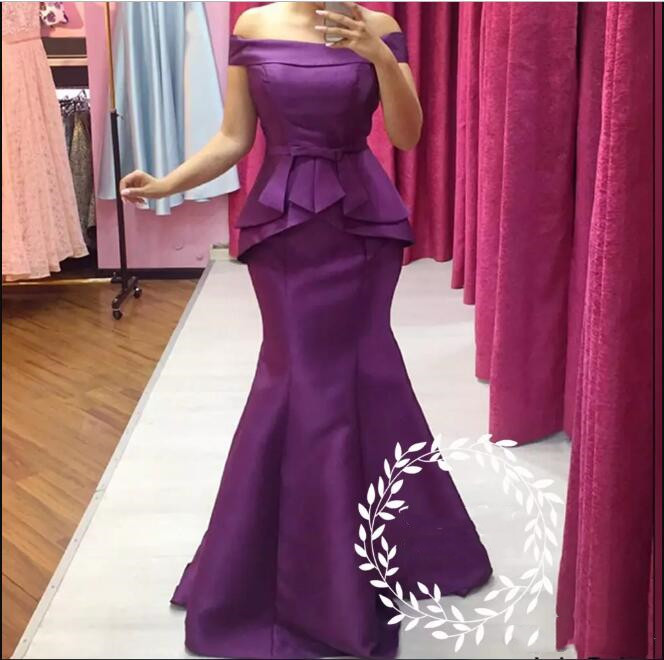 Elegant Purple Mermaid Mother Of The Bride Dresses Long 2018 Off Shoulder Women Wedding Guest Dress Formal Evening Prom Gown