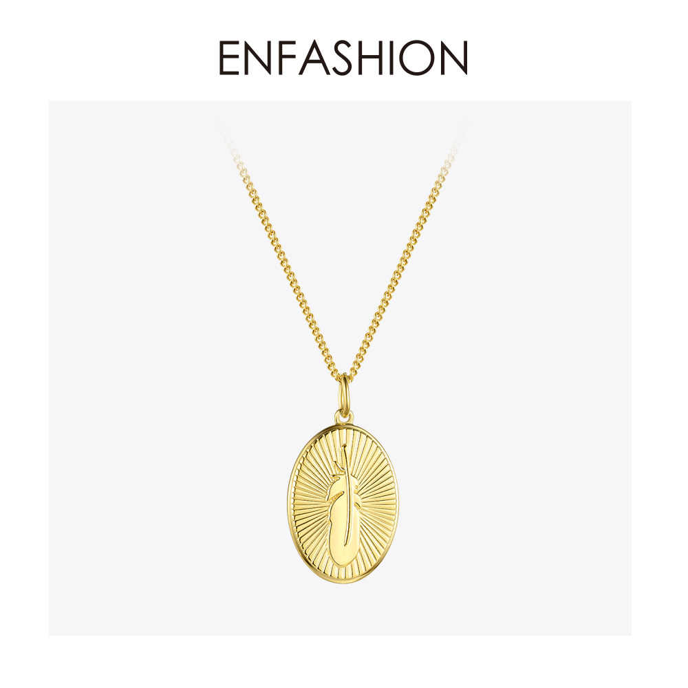 ENFASHION metalowe pióro Choker Naszyjnik kobiety złoty kolor ze stali nierdzewnej stalowy wisiorek Naszyjnik moda biżuteria Femme Naszyjnik P3044