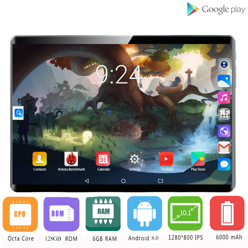 2020 New 10 Inch Tablet PC Octa Core 6GB RAM 64GB 128GB ROM Android 8.0 WiFi Bluetooth GPS 4G Phone Call Dual SIM 2.5D Tablets