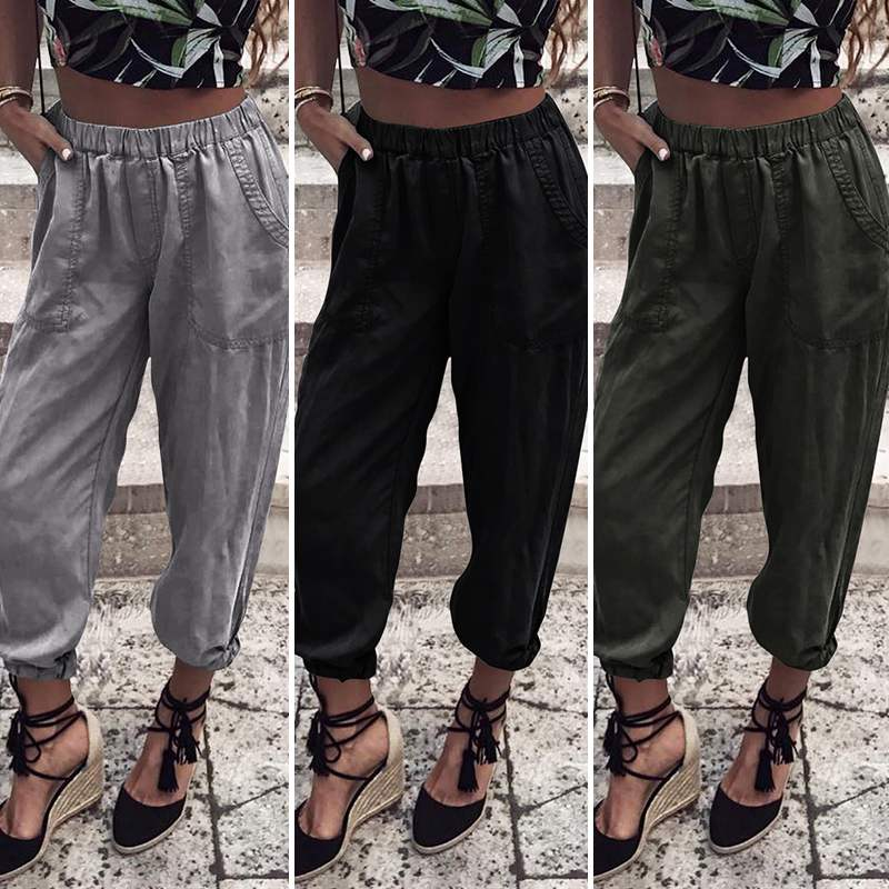Women Midi Waist Loose Streetwear Pants VONDA 2019 Pockets Cargo Pants Baggy Women's Trouser Casual High Quality Joggers Pants