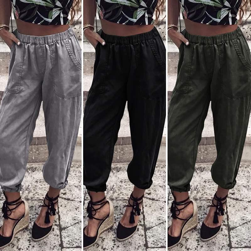 Women Midi Waist Loose Streetwear Pants VONDA 2019 Pockets Cargo Pants Baggy Women's Trouser Casual High Quality Joggers Pants