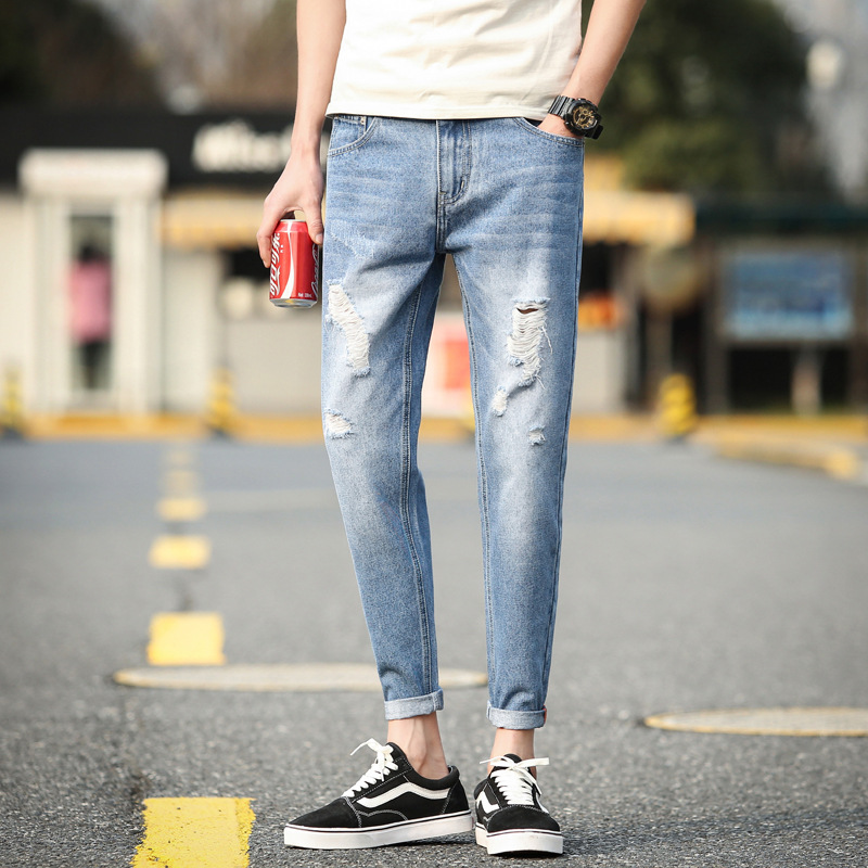 Summer Wear New Style Men With Holes Jeans Capri Pants Ripped Pants Ripped Jeans Retro Washing Men's Trousers 901