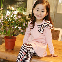 Retail And Wholesale 2019 Spring Autumn Toddler Girl Clothing Sets Children Clothes Kids Top With Bow+striped Leggings 2pcs