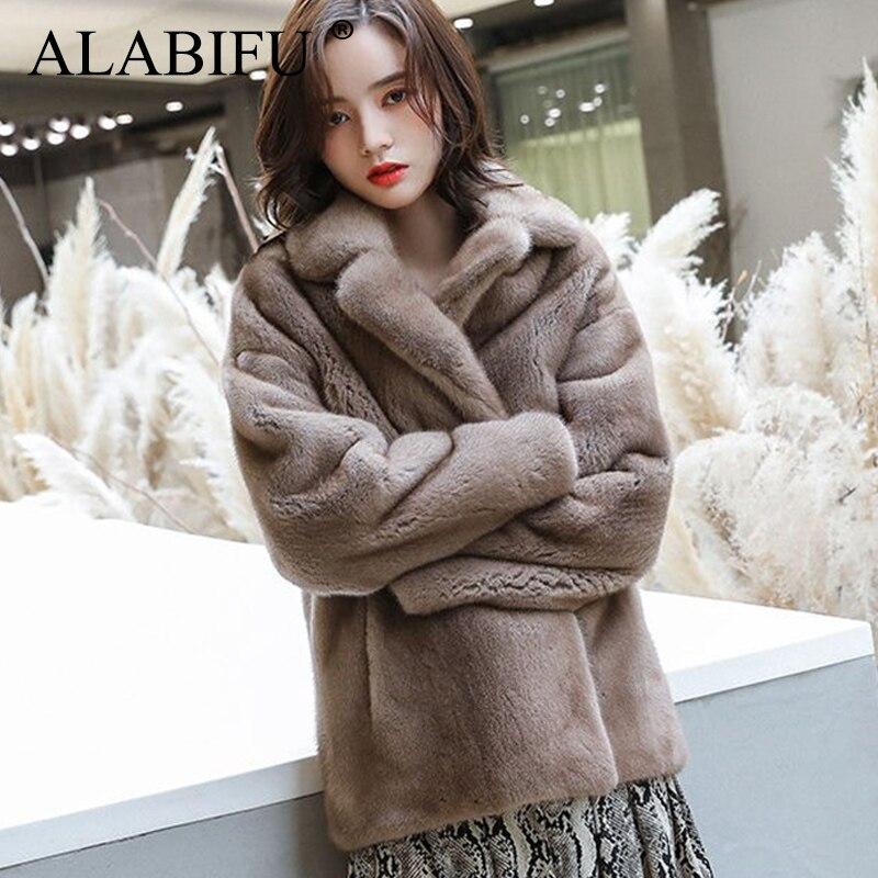 ALABIFU Fashion Faux Fur Coat Autumn Winter Women Korean Overcoat Warm Slim Faux Mink Fur Pocket Winter Coat Women Fur Jacket