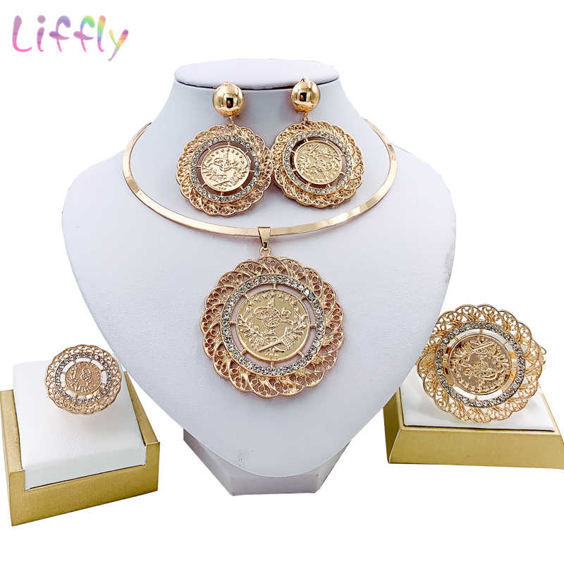 Liffly Fashion Bridal Jewelry Sets Women Dubai Gold Jewellery Wedding Necklace Earrings African Jewelry Set