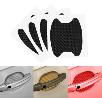 4pcs/lot Car Handle Protection Film Universal Invisible Car Carbon fiber Door Handle Stickers Scratches Resistant Sticker black image