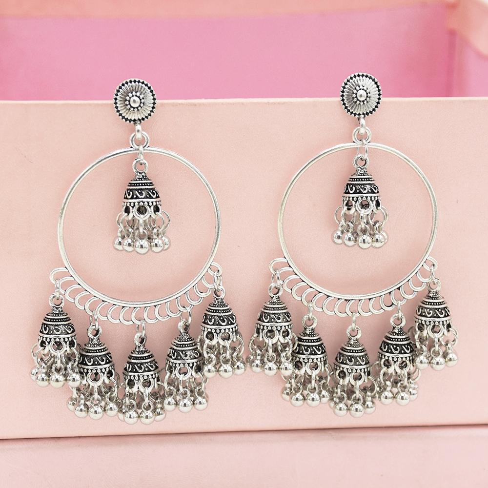 Indian Oxidized Silver Kashmiri Tribal Fashion Gold Plated Multiple Long Earring