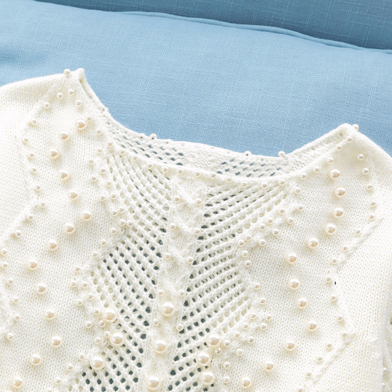 Image 3 - Pearls beading white sweater women knitted hollow out Pullover  loose lazy sweaters basic tops 2019 autumn and winter new  arrivalPullovers
