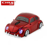 CHYI sans fil Mini voiture forme ordinateur souris optique Usb Auto PC Mause 3D VW Beetle voiture Maus 2.4Ghz 1600 DPI souris LED pour ordinateur portable