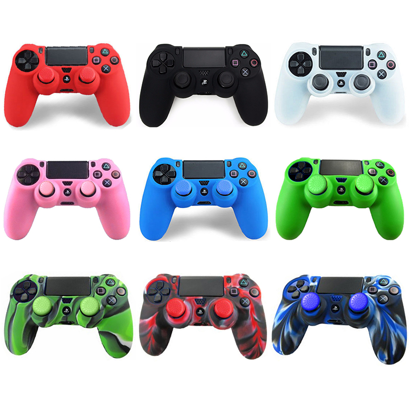 Gen Game 2 In 1 Soft Silicone Rubber Case Cover For Play Station Dualshock 4 PS4 DS4 Pro Slim Wireless Controller Skin + 2 Grips