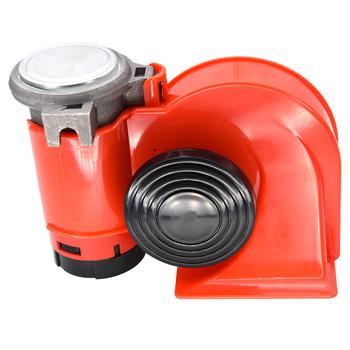 HD 12V 120db czerwony samochód ślimak róg Auto kompaktowy róg powietrza Super głośny dla samochodów motocykl ciężarówka ciężarówka jacht łódź SUV trąbka rogi tanie i dobre opinie RYSJM CN (pochodzenie) 10cm 10 6cm Metal ABS Wielu tone claxon rogi 0 7kg Single trumpet air horn 2020 motorcycle horn