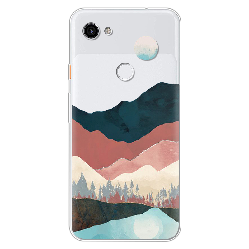 Mountain Marble Moon Sun Back Cover For Google Pixel 3A XL TPU Soft Silicone Cute Cartoon Cases For Google Pixel 4 3 2 XL Fundas