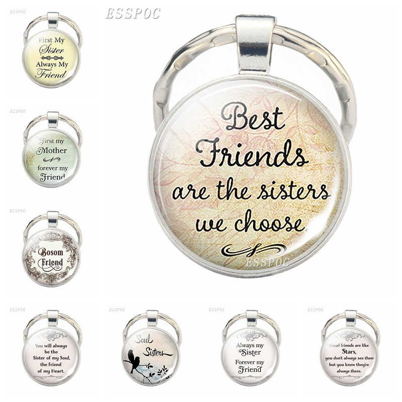 Fashion Accessories Best Friends Are The Sisters We Choose, Friendship Pendant Quote Jewelry best friend key chains Keychain image