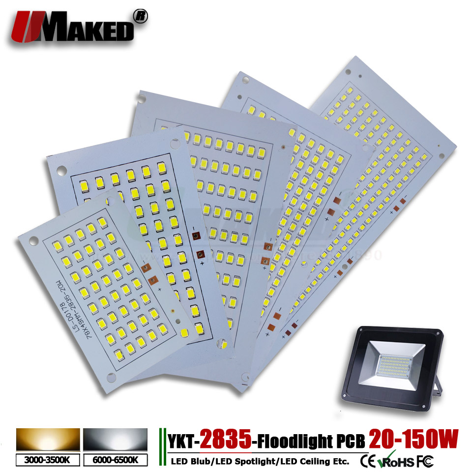 1pcs SMD 2835 LED PCB Floodlight PCB Plate 20W 30W 50W 100W 150W Light Source Heatsink Aluminum Panel For Outdoor LED Lamps DIY
