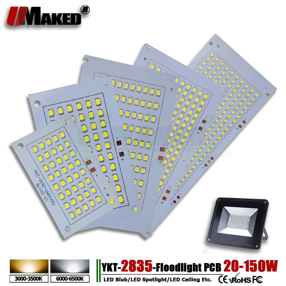 1pcs SMD 2835 LED PCB Floodlight PCB Plate 20W 30W 50W 100W 150W Light Source Heatsink Aluminum Panel For Outdoor LED Lamps DIY