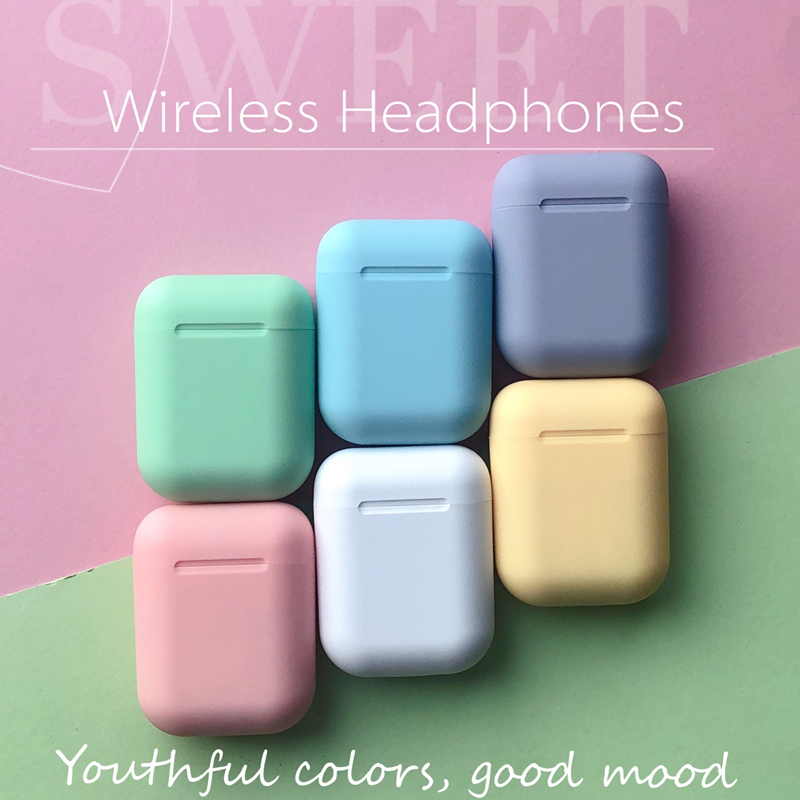 i12 tws Bluetooth Earphone Wireless Earbuds Hands free 3d Stereo surround sound Sport music Colorful Scrub feel image