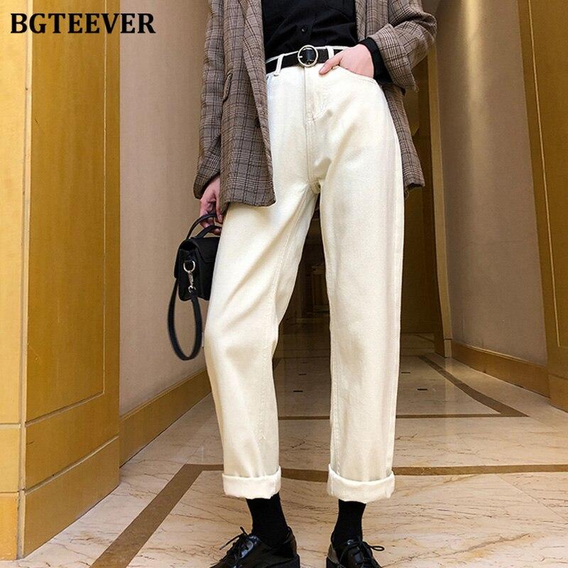 BGTEEVER Korean Chic Straight Jeans Women Sashes Belted Thick Velvet Jeans Women High Waist Fleece Warm Denim Pants Femme 2019