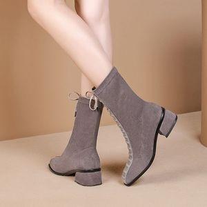 Image 5 - ALLBITEFO hot sale genuine leather+Elastic flock Square toe women boots Frenulum ankle boots Autumn Winter Classic fashion boots