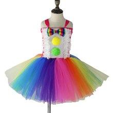 Fanny/Радужное платье-пачка с клоуном для девочек бальное мини-платье с бантом праздничное платье для костюмированной вечеринки, костюм на Хэллоуин для детей, PQ213
