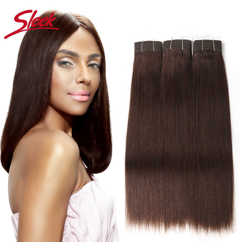 Sleek Hair Double Drawn Brazilian Remy Human Hair Bundles Yaki Straight Hair Weave #2/#6/#33Natural Color Human Hair Bundles