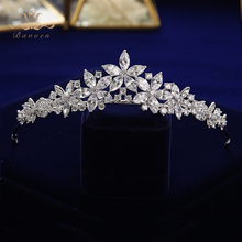 European Sparkling Full Zircon Bridal Tiaras Crowns Plated Crystal Wedding Hairbands For Brides Evening Hair Jewelry недорого