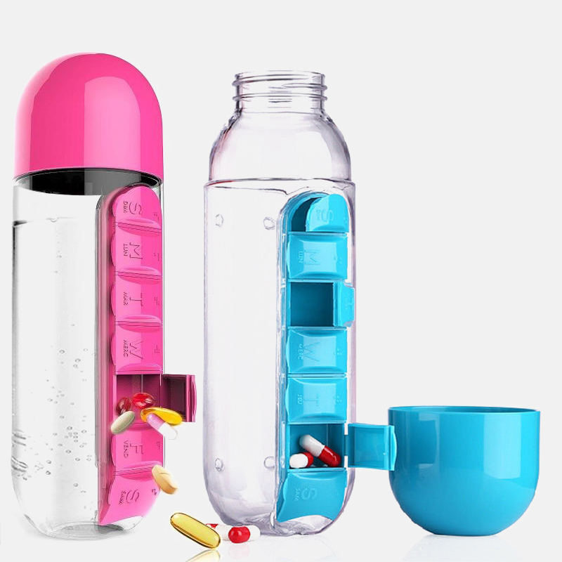 600Ml Water Bottle with Pillbox Plastic Drink Bottle with Medicine Pills Box Travel 7 Days Drug Organizer Drinking Container
