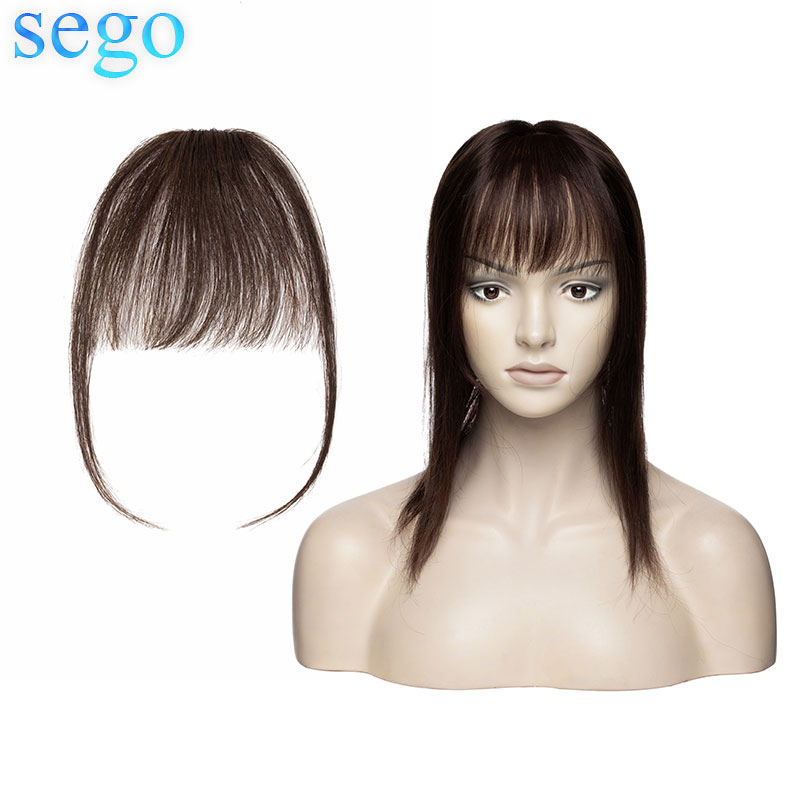 SEGO Dark Brown Color Clip In Bangs Human Hair Flat Air Fringe Bangs Invisible Brazilian Hair Pieces Non-remy Replacement Hair