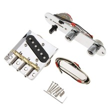 6 Strings Saddle Bridge Plate, 3 Way Switch Control Plate, Neck Pickup Set for Fender Electric Guitars Replacement Parts(China)