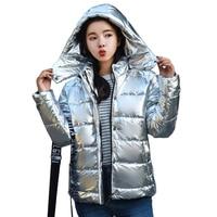 New Bomber Streetwear Women Shiny Gold Winter Jacket Womans Short Jacket 2019 Warm Down Jacket Outwear Thick Hooded Cotton Coat