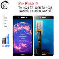 A Cristalli Liquidi per Nokia 6 Ta-1021 Ta-1025 Ta 1033 1039 1000 1003 Display Lcd Dello Schermo di Tocco Del Sensore digitizer Assembly per Nokia6 N6 Display