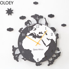 Large Wall Clock Wood Nordic Modern World Map Living Room Creative American Hanging Watch Silent Clock Reloj De Pared Wall Clock(China)