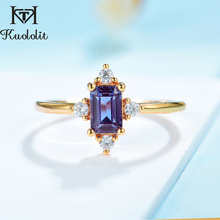 Luxury-Ring Moissanite-Ring Lab Alexandrite Gold 14k 925-Sterling-Silver Kuololit Yellow