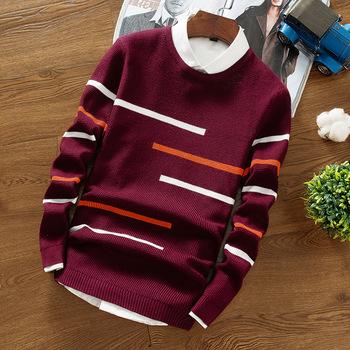 2020 nowa dostawa zimowy sweter męski O-Neck modna sweter dzianinowy sweter w paski Slim młodzieżowy sweter z wełny ciepły sweter tanie i dobre opinie Aliman Xiangqing CN (pochodzenie) 84593 Poliester Swetry Łączone Na co dzień Pełna REGULAR Komputery dzianiny Grube