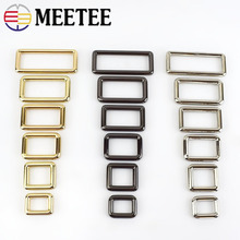 Meetee 5pcs 12-50mm Metal Square O D Ring Buckles Bag Adjustable Buckle DIY Backpack Straps Shoes Garment Leather Accessories