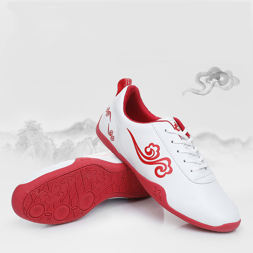 Chinese Shoes Old Beijing Tai Chi Somersault Cloud Print Unisex Breathable Wushu Kung Fu Martial Arts Shoes for Training