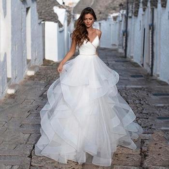 Charming Tulle A-line Wedding Dresses Beaded Backless Vestido de Noiva 2020 Princess Bridal Dress Plus Size wedding Gowns a line tulle wedding dress 2019 princess wedding gowns v neck sleeveless backless bride bridal dresses vestido de noiva