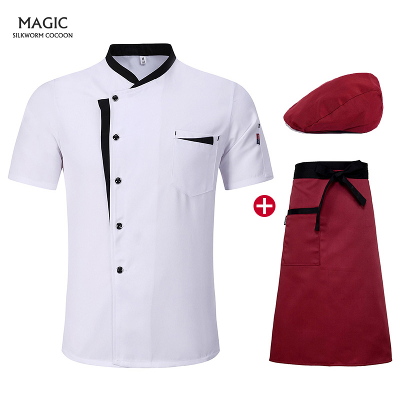 Women Men Cook Jacket Chef Uniform Short Sleeve White Chefs Jacket Plus Size Work Clothing Kitchen Chef Shirt+apron+cooker Hat