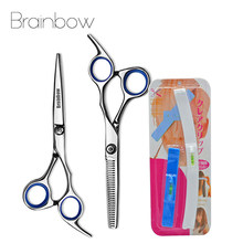 Brainbow 6 inch Cutting Thinning Styling Tool Hair Scissors Salon Hairdressing Shears with Bang Set Level Ruler Hair Accessory(China)