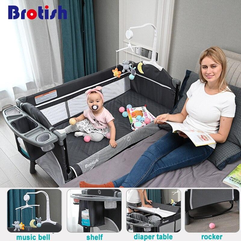 Brotish Новорожденный многофункциональный шпаргалка шить кровать,новорожденный колыбель кровать, игровая кровать, портативный складной шпар